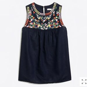J. Crew Linen Cotton Embroidered Navy Tank Top